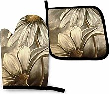 Oven Mitts and Pot Holders Sets,White Daisy
