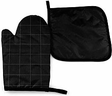 Oven Mitts and Pot Holders Sets,White Dash Square