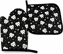 Oven Mitts And Pot Holders Sets, White Teeth