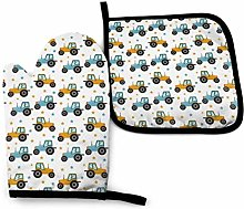 Oven Mitts And Pot Holders Sets, Yellow And Blue