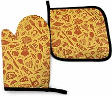 Oven Mitts and Pot Holders Sets,Yellow and Orange