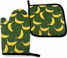 Oven Mitts And Pot Holders Sets, Yellow Banana