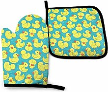 Oven Mitts And Pot Holders Sets, Yellow Duck