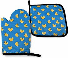 Oven Mitts And Pot Holders Sets, Yellow Ducks