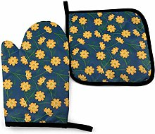 Oven Mitts And Pot Holders Sets, Yellow Flower