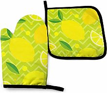 Oven Mitts And Pot Holders Sets, Yellow Lemon