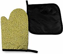 Oven Mitts and Pot Holders Sets,Yellow Lines