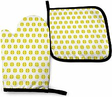 Oven Mitts And Pot Holders Sets, Yellow Softball