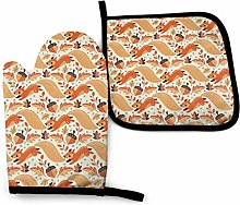 Oven Mitts And Pot Holders Sets, Yellow Squirrel