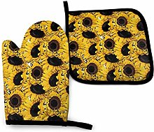 Oven Mitts And Pot Holders Sets, Yellow Sunflower