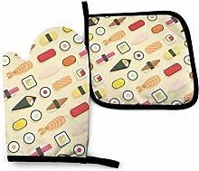 Oven Mitts And Pot Holders Sets, Yellow Sushi