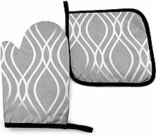 Oven Mitts and Pot Holders,Silver Geometric Figure