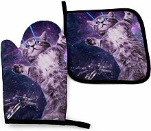 Oven Mitts and Pot Holders,Space Laser Cat Novelty