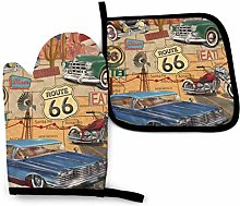 Oven Mitts and Pot Holders,Vintage Route 66