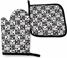 Oven Mitts and Potholders (2-Piece Sets),Black and