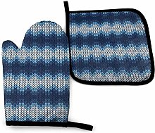 Oven Mitts and Potholders (2-Piece Sets),Blue