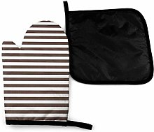Oven Mitts and Potholders (2-Piece Sets),Brown