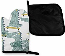 Oven Mitts and Potholders (2-Piece Sets),Crocodile
