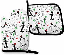 Oven Mitts and Potholders (2-Piece Sets),Merry