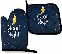 Oven Mitts and Potholders (2-Piece Sets),Night