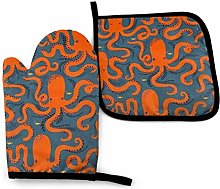 Oven Mitts and Potholders (2-Piece Sets),Orange