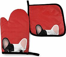 Oven Mitts and Potholders (2-Piece Sets),Red Black