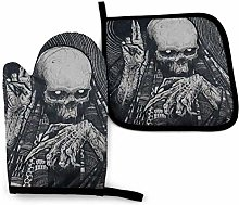 Oven Mitts and Potholders (2-Piece Sets),Skeleton,