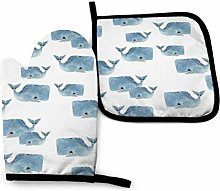 Oven Mitts and Potholders (2-Piece Sets),Whale Pod