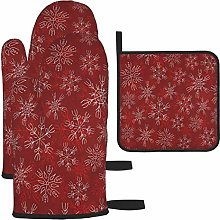 Oven Mitts and Potholders 3pcs Set Merry Christmas