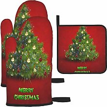 Oven Mitts and Potholders 3pcs Set Red Christmas