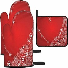Oven Mitts and Potholders 3pcs Set Red Love
