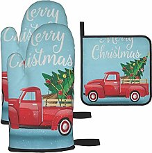 Oven Mitts and Potholders 3pcs Set Red Truck and