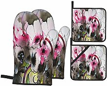 Oven Mitts and Potholders 4pcs Sets,Beautiful