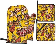 Oven Mitts and Potholders 4pcs Sets,Hand Drawn