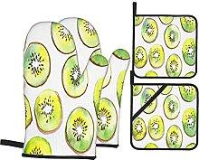 Oven Mitts and Potholders 4pcs Sets,Kiwi Fruit