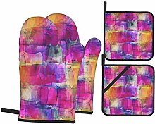 Oven Mitts and Potholders 4pcs Sets,Picture Frame