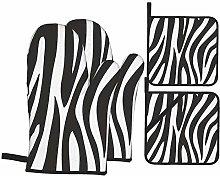 Oven Mitts and Potholders 4pcs Sets,Zebra Animal