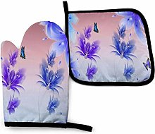 Oven Mitts and Potholders,Blue Purple Flowers