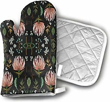 Oven Mitts and Potholders,Floral Study Dark Oven