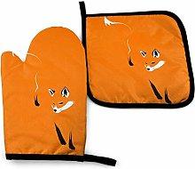 Oven Mitts and Potholders Set, Orange Fox Heat