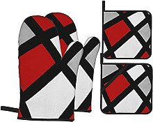 Oven Mitts/Microwave Gloves/Oven Gloves Red Gray