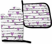 Oven Mitts, Oven Gloves Pots, Purple Hearts On