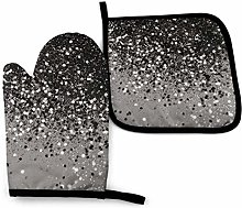 Oven Mitts, Oven Gloves Pots, Silver Gray Glitter