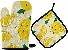 Oven Mitts Pot Holder Sets - Lemon Orange Oven