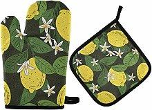 Oven Mitts Pot Holder Sets - Summer Fruit Lemon