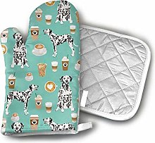 Oven Mitts Pot Holders,Dalmatians Cute Mint Coffee