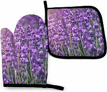 Oven Mitts Pot Holders,Hummingbird Purple Flowers