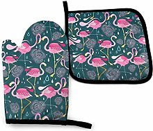 Oven Mitts Pot Holders,Pink Flamingo Flowers Oven