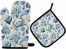 Oven Mitts Pot Holders Sets - Coral Shell Crab