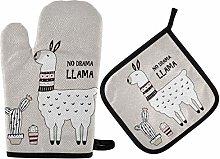 Oven Mitts Pot Holders Sets - Cute Cartoon Llama
